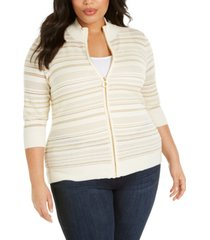 belldini plus size striped lurex zip-front textured cardigan sweater