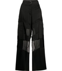 sacai wide leg sheer panelled trousers - black