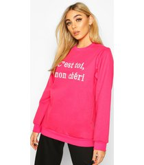 french slogan embroidered sweatshirt, pink