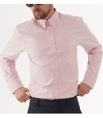 ben sherman long sleeve oxford shirt - light pink 0055437