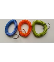 10 - multi-colored coil key chains - wrist spiral stretchable ring elastic