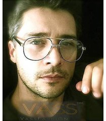 80's vintage trendy aviator metal gold frame clear lenses men women eyeglasses