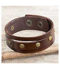 men's leather wristband bracelet, 'rustic brown' (thailand)