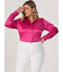 camisa plus size em cetim pink