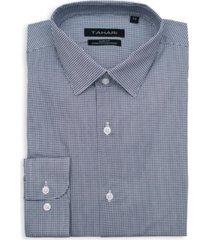 tahari men's slim fit non-iron, wrinkle resistant performance stretch dress shirt - gingham check