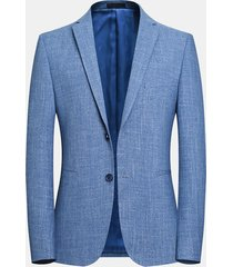 blazer blu da uomo in tinta unita slim fit easy-care