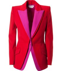 alexander mcqueen double-layered single button blazer