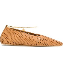 stella mccartney anklet woven ballerina shoes - brown
