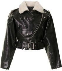 r13 motorcycle leather jacket - black