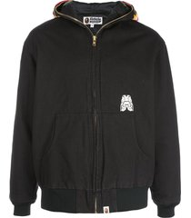 a bathing ape® tiger work zip-front hoodie - black