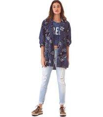 blazer com recorte jeans p