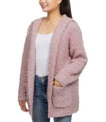 hippie rose juniors' plush hooded cardigan