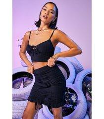 gerecyclede geribbelde mini rok met ruches, zwart