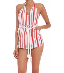 red striped short jumpsuit