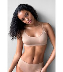womens seamless nights scoop neck bralette - tan
