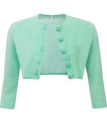 terry cloth cardigan seafoam green