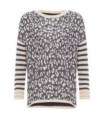 blusa feminina tricot onça gráfica creme brulee - animal print