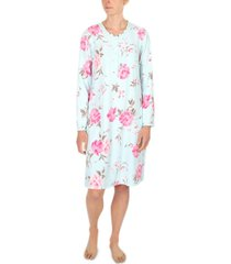 miss elaine plus size printed brushed waffle knit nightgown