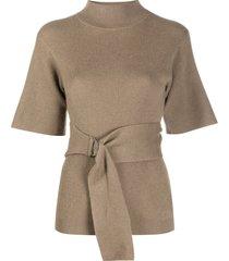 brunello cucinelli belted waist knitted top - brown