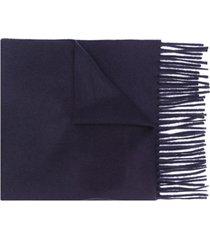 filippa k cachecol de tricô com acabamento desfiado - azul