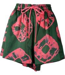 zimmermann poppy tie-dye habotai shorts - green