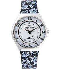 reloj negro montreal flores