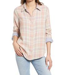 women's faherty belmar reversible organic cotton button-up shirt, size x-small - pink