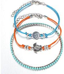 3 pezzi / set boemia turchese rune charm multilayer anklets bracciali anelli regolabili vintage caviglia