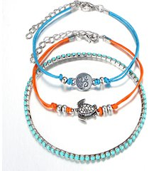 3 pezzi / set bohemian turtle rune charm multilayer anklets braccialetti vintage regolabile caviglia anelli