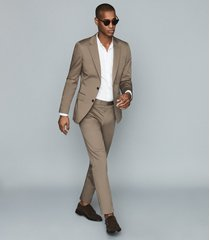 reiss class - cotton-blend twill blazer in taupe, mens, size 46