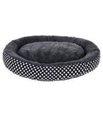 cama pet para cachorros e gatos redonda 60cm poa grafite - meu pet