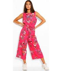 bloemenprint jumpsuit met ceintuur, warm roze