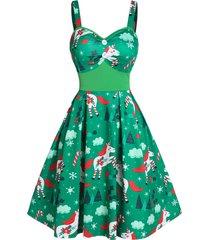 christmas unicorn print button cami a line dress