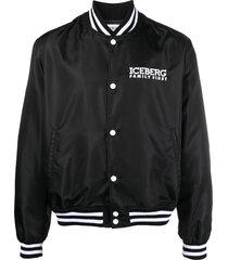 iceberg logo-print varsity jacket - black