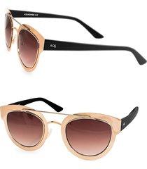 aqs women's 49mm jolene round metallic sunglasses - rose gold