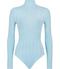 fendi open-knit long-sleeve bodysuit - blue