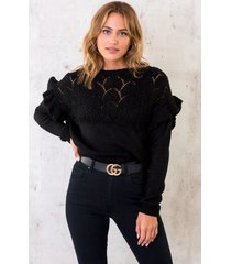 gehaakte ruffle trui zwart