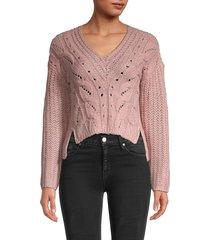 love and joy women's cable-knit sweater - pale mauve - size xl