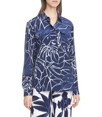 lafayette 148 new york zora leaf print silk shirt, size x-small in royal blue multi at nordstrom