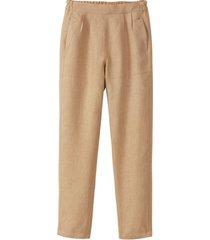 comfortabele linnen broek, camel 38