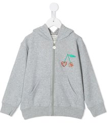 bonpoint cherry-embroidered zip-up hoodie - grey