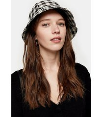 black and white gingham bucket hat - monochrome