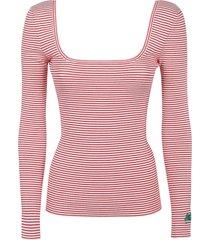 etro square neck striped sweater