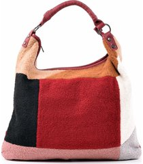 cartera patchwork lana rojo mailea