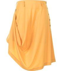 comme des garçons homme plus draped asymmetric-hem skirt - yellow
