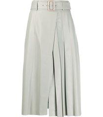 drome pleated mid-length skirt - green