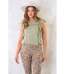 ruches top embroidery olive