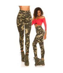sexy hoge taille skinny jeans camouflage leger