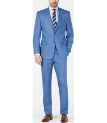 marc new york by andrew marc men's modern-fit stretch blue glen plaid suit