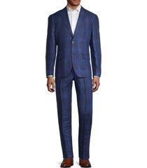 tallia men's slim-fit linen plaid suit - blue - size 38 r